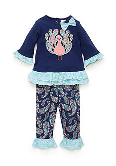 Nursery Rhyme® 2-Piece Peacock Shirt and Patterned Leggings Set