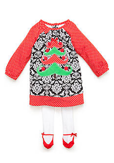 Nursery Rhyme Paisley Print Christmas Tree Dress and Tight Set