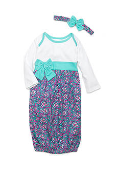 Nursery Rhyme Paisley Gown with Bow and Headband Infant/Baby Girls