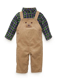 Nursery Rhyme® 2-Piece Bear Overall and Plaid Shirt Set
