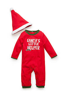 Nursery Rhyme® 'Santa's Little Helper' Coverall and Hat Set