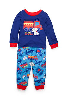 J. Khaki Graphic Firetruck Rescue Dog Pajama Set Toddler Boys