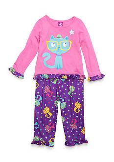 J. Khaki Graphic Smarty Cat Pajama Set Toddler Girls