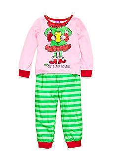 J. Khaki Graphic 'Elfie Selfie' Pajama Set Toddler Girls