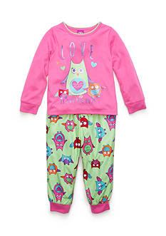 J. Khaki Graphic Owl Pajama Set Toddler Girls
