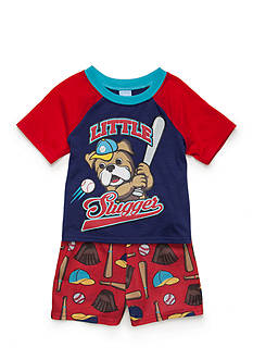 J. Khaki 2-Piece Baseball Pajama Set Toddler Boys