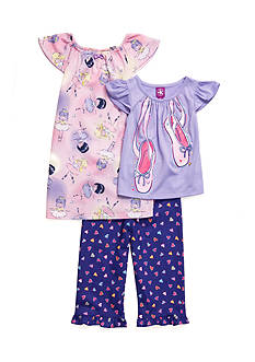 J. Khaki Ballerina 3-Piece Pajama Set Toddler Girls