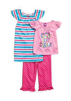 J. Khaki 'Not Sleepy' 3-Piece Pajama Set Toddler Girls