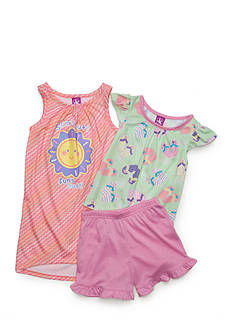 J. Khaki 'Sun's Out, Fun's Out' 3-Piece Pajama Set Toddler Girls
