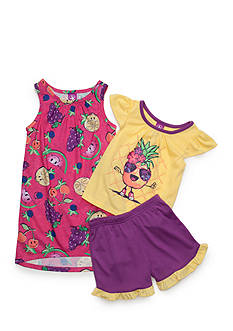 J. Khaki Aloha Pineapple 3-Piece Pajama Set Toddler Girls
