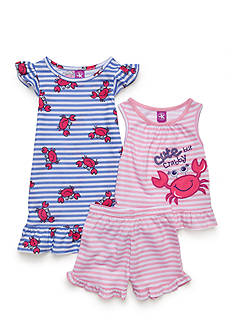 J. Khaki 3-Piece 'Cute But Crabby' Pajama Set Toddler Girls