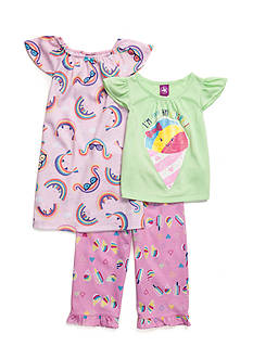J. Khaki Rainbow 3-Piece Pajama Set Toddler Girls