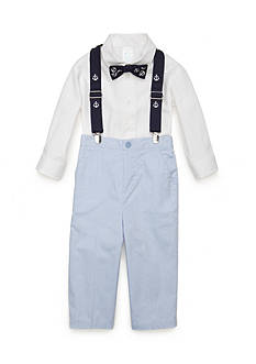 Nursery Rhyme® 4-Piece Shirt, Bow tie, Suspenders, and Pant Set