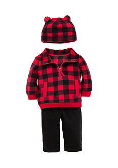 best beginnings® by Little Me 3-Piece Plaid Microfleece Top, Hat, and Pant Set
