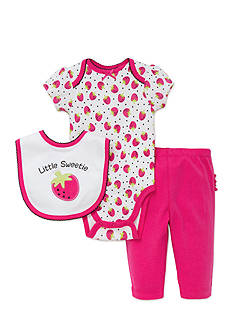 best beginnings® by Little Me 3-Piece Strawberry Bib, Bodysuit, and Ruffle Pants Set