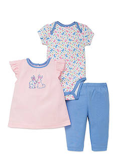 best beginnings® by Little Me 3-Piece Bunny Top, Bodysuit, and Pant Set