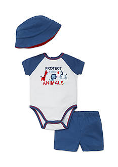 best beginnings by Little Me 3-Piece Animal Bodysuit, Hat, and Short Set