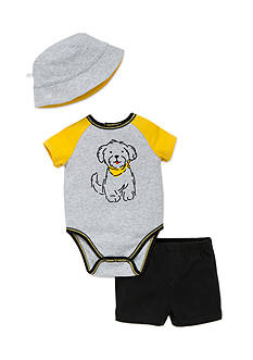 best beginnings by Little Me 3-Piece Puppy Bodysuit, Hat, and Shorts Set