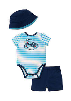 best beginnings® by Little Me 3-Piece Motorcycle Bodysuit, Short, and Hat Set