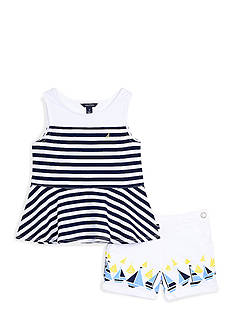 Nautica Peplum Top and Printed Short 2-Piece Set Toddler Girls