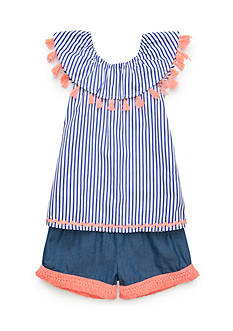 Self Esteem Stripe Top and Chambray Short Toddler Girls