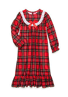 J. Khaki Long Sleeve Plaid Night Gown Girls 4-16