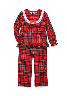 J. Khaki 2-Piece Long Sleeve Plaid Pajama Set Girls 4-16