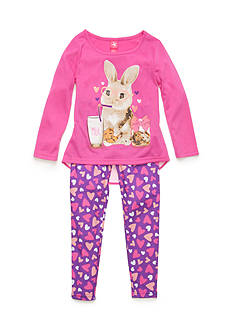 J. Khaki 2-Piece Bunny and Cookie Pajama Set Girls 4-16