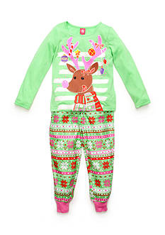 J. Khaki® Reindeer Pajama 2-Piece Set Girls 4-16