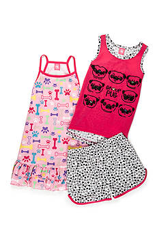 J. Khaki Group Pug 3-Piece Pajama Set Girls 4-16