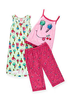 J. Khaki Yummy Cones 3-Piece Pajama Set Girls 4-16