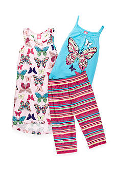 J. Khaki Butterflies 3-Piece Pajama Set Girls 4-16