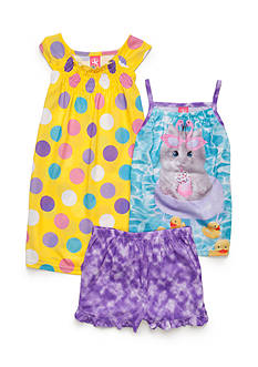 J. Khaki 3-Piece Kitty Pool Pajama Set Girls 4-16