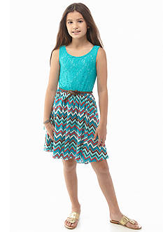 Bloome Lace to Chevron Bow Back Dress Girls Plus