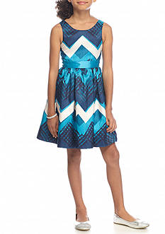 Bloome Sleeveless Blue Chevron Dress Girls 7-16