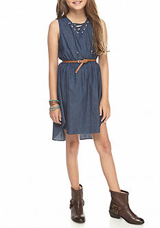 Sweet Heart Rose Denim Tank Dress with Lace Up Top and Belt Girls 7-16