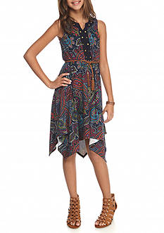 Bloome Multi Paisley Belted Tank Dress Girls 7-16