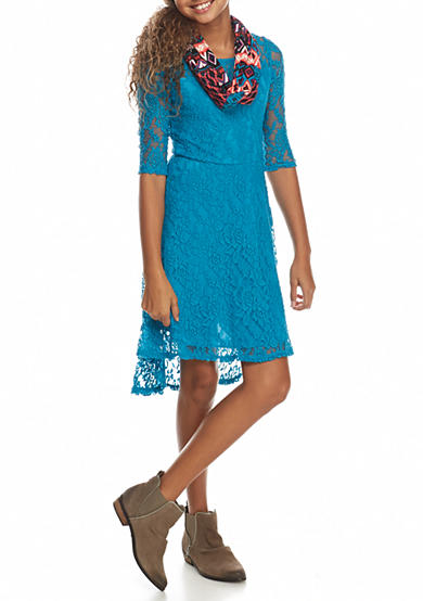 Bloome Lace 3/4 Sleeve Lace Dress With Scarf Girls 7-16