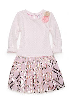 Sweet Heart Rose Metallic Print Dress Girls 4-6x