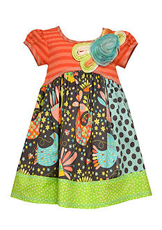 Bonnie Jean Birds Mixed Media Dress Girls 4-6x