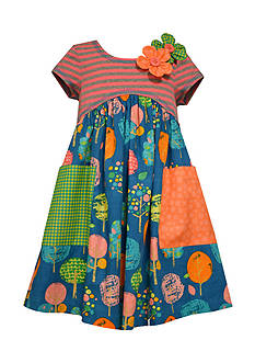 Bonnie Jean Tree Mixed Media Dress Girls 4-6x