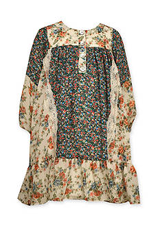 Bonnie Jean Boho Mixed Floral Print Dress Girls 4-6x