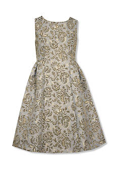 Bonnie Jean Metallic Toile Brocade Dress Girls 4-6x