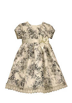 Bonnie Jean Floral Toile Shantung Dress Girls 4-6x