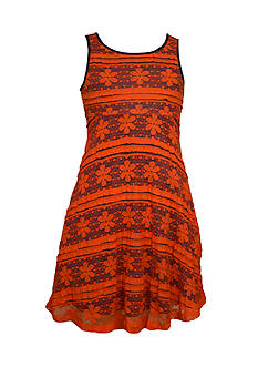 Bonnie Jean® Floral Stripe Lace Skater Dress Girls 7-16
