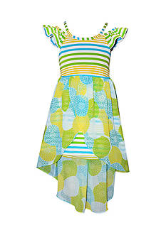 Bonnie Jean® Stripe Floral Chiffon Overlay Dress Girls 4-6x