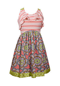 Bonnie Jean Floral Stripe Dress Girls 4-6x
