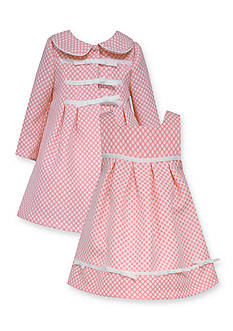 Bonnie Jean® 2-Piece Jacquard Dot Dress and Coat Set Girls 4-6x