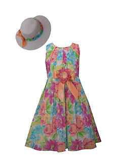 Bonnie Jean Bright Floral Dress and Hat Set Girls 4-6x