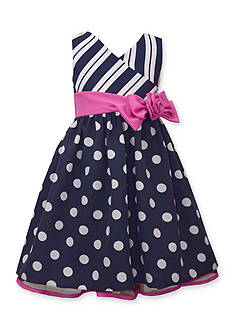 Bonnie Jean Dot and Stripe Dress Girls 4-6x